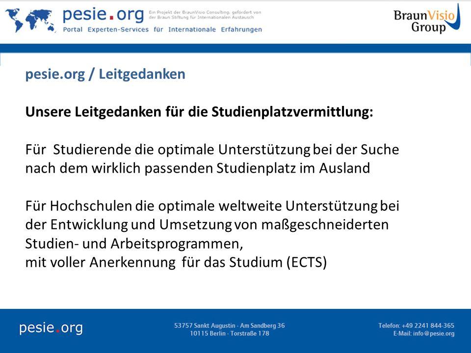 pesie.org / Leitgedanken Unsere Leitgedanken für die Studienplatzvermittlung: Für Studierende die optimale Unterstützung bei der Suche nach dem wirkli