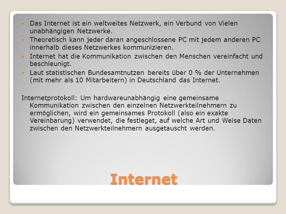 Internet Das Internet ist ein weltweites Netzwerk, ein Verbund von Vielen unabhängigen Netzwerke.