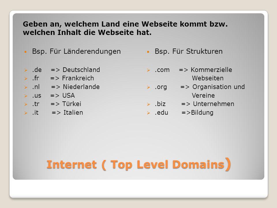 Internet ( Top Level Domains ) Geben an, welchem Land eine Webseite kommt bzw.