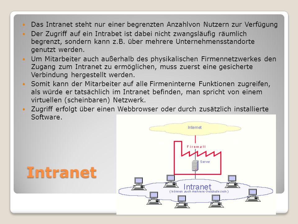 Intranet Das Intranet steht nur einer begrenzten Anzahlvon Nutzern zur Verfügung Der Zugriff auf ein Intrabet ist dabei nicht zwangsläufig räumlich begrenzt, sondern kann z.B.