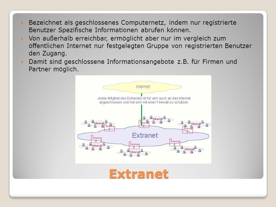 Extranet Bezeichnet als geschlossenes Computernetz, indem nur registrierte Benutzer Spezifische Informationen abrufen können.