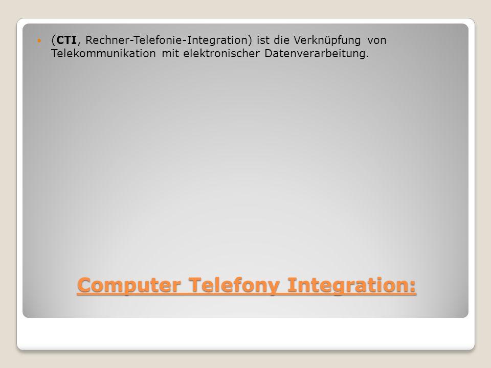 Computer Telefony Integration: (CTI, Rechner-Telefonie-Integration) ist die Verknüpfung von Telekommunikation mit elektronischer Datenverarbeitung.