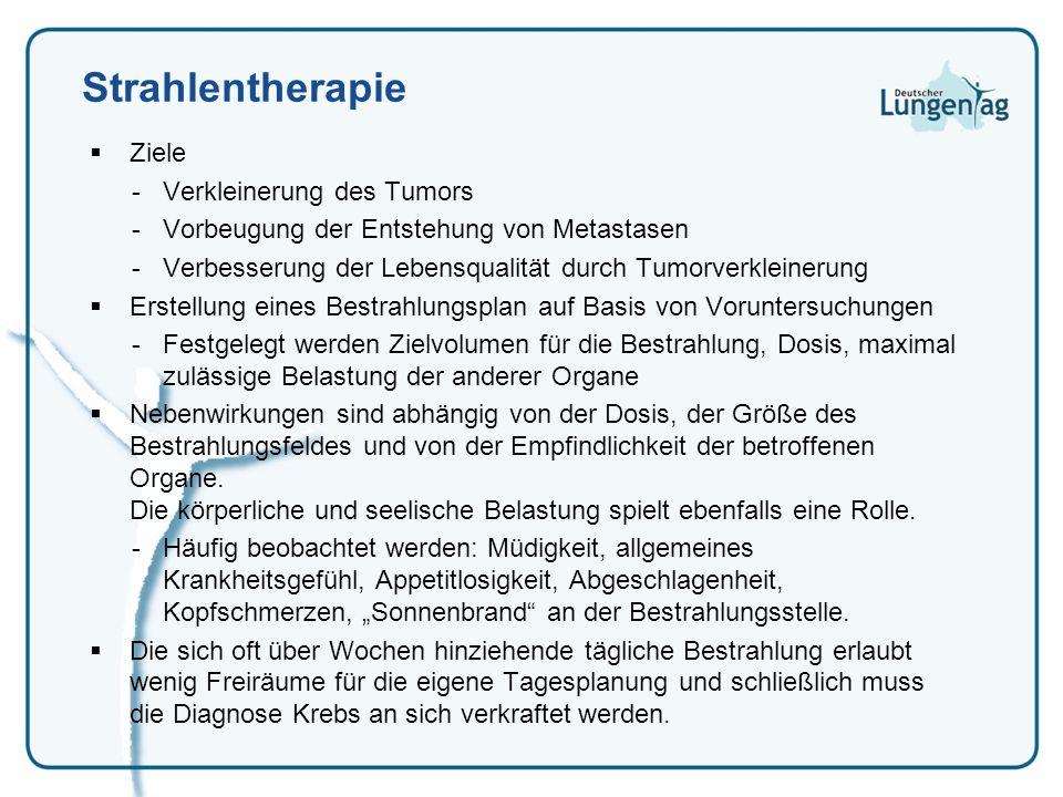 Strahlentherapie Ziele -Verkleinerung des Tumors -Vorbeugung der Entstehung von Metastasen -Verbesserung der Lebensqualität durch Tumorverkleinerung E
