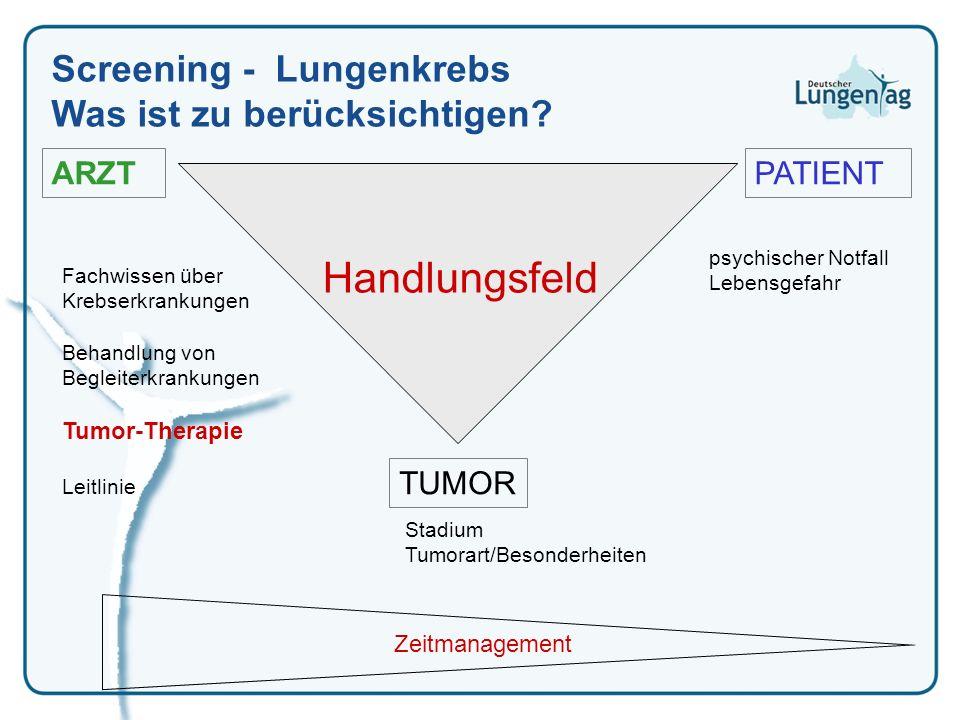 PATIENTARZT TUMOR Handlungsfeld psychischer Notfall Lebensgefahr Stadium Tumorart/Besonderheiten Fachwissen über Krebserkrankungen Behandlung von Begl