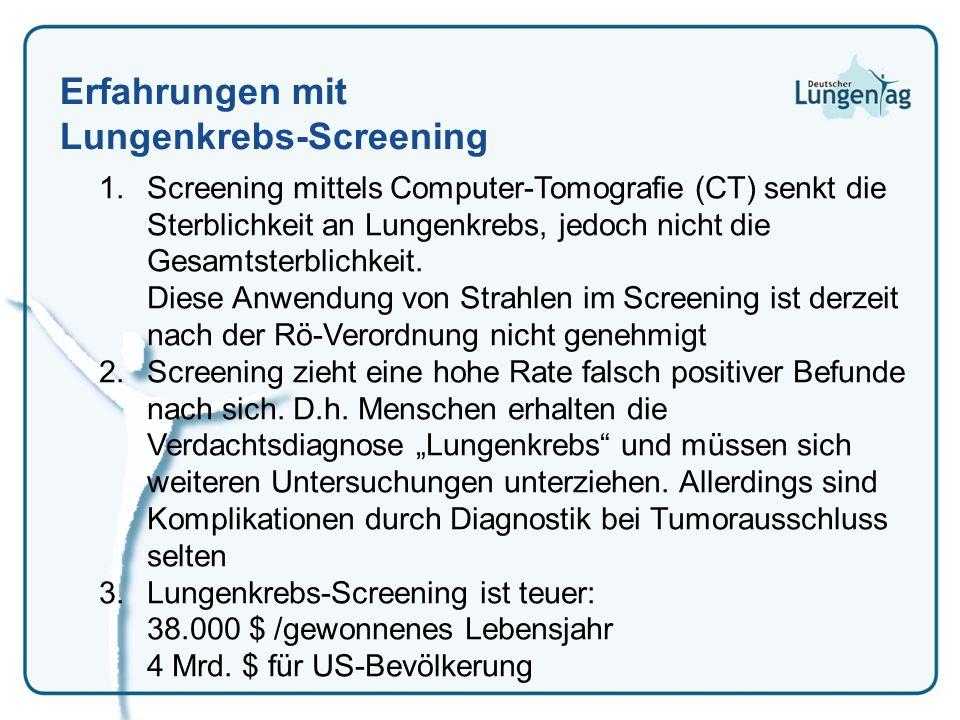 Erfahrungen mit Lungenkrebs-Screening 1.Screening mittels Computer-Tomografie (CT) senkt die Sterblichkeit an Lungenkrebs, jedoch nicht die Gesamtster