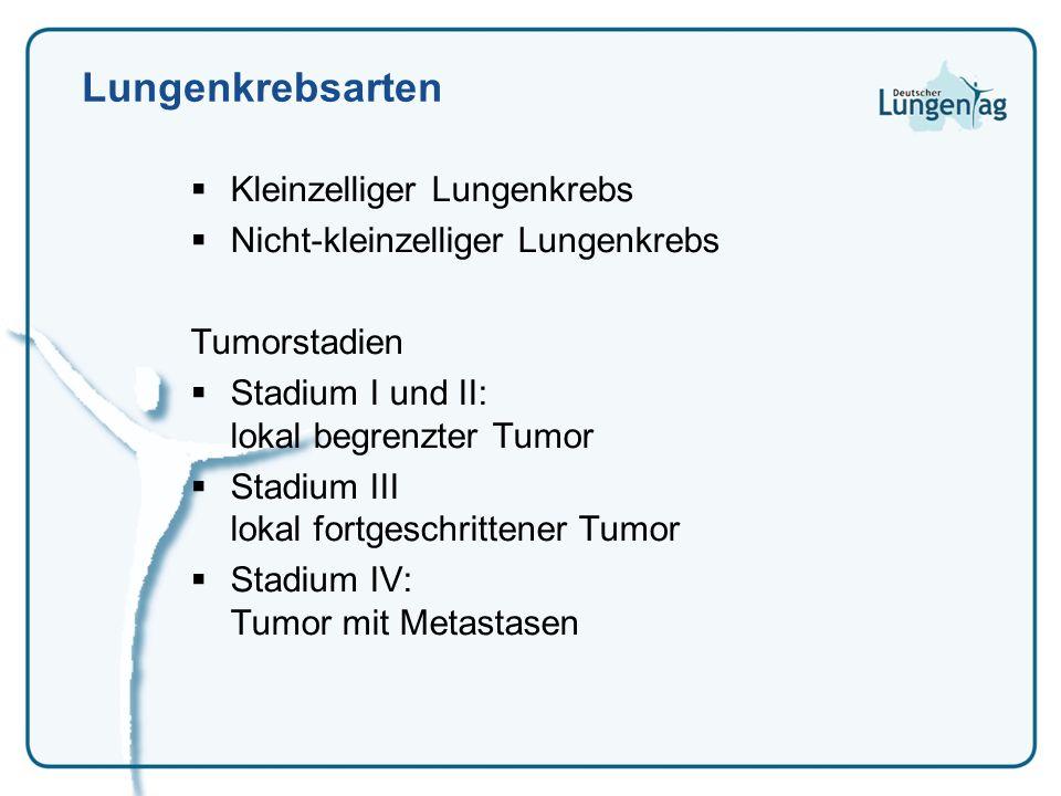 Lungenkrebsarten Kleinzelliger Lungenkrebs Nicht-kleinzelliger Lungenkrebs Tumorstadien Stadium I und II: lokal begrenzter Tumor Stadium III lokal for