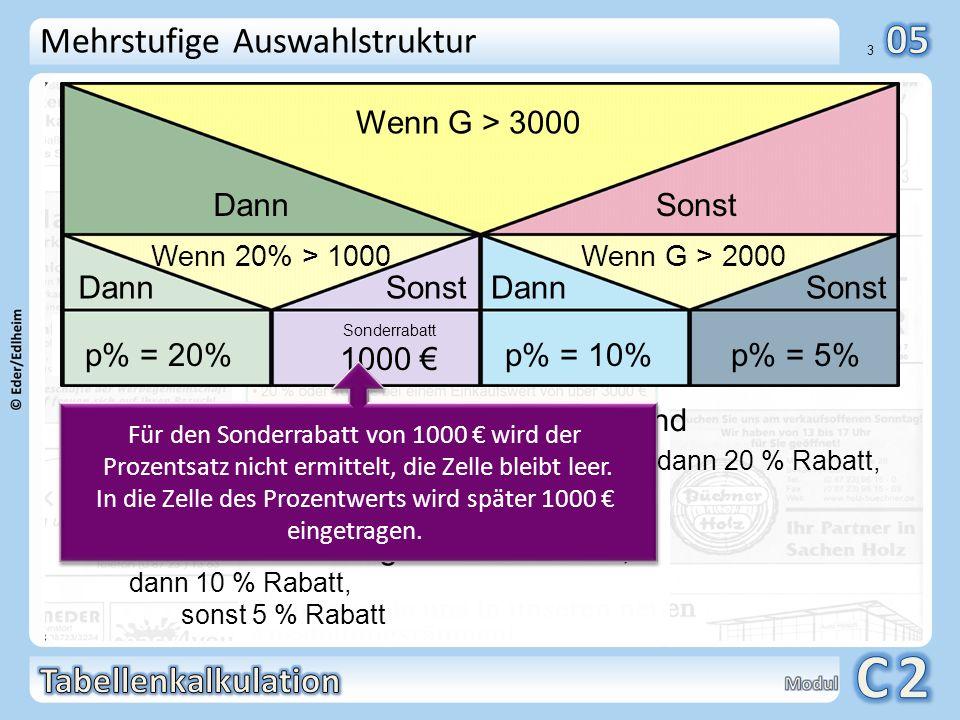 01 3 Mehrstufige Auswahlstruktur Der Kunde kann wählen: Wenn der Warenwert größer 3000 ist und wenn der 20 %-Rabatt größer als 1000 ist, dann 20 % Rab