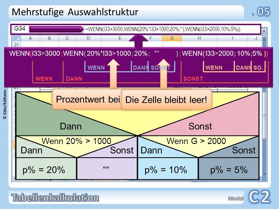 01 6 Automatisches Ausfüllen G34 =WENN(I33>3000;WENN(20%*I33>1000;20%;);WENN(I33>1000;10%;5%)) WENN( ; ; )I33>3000WENN( ; ; ) 20%*I33>100020% WENN( ; ; ) I33>2000 10% 5% Zelle bleibt leer.