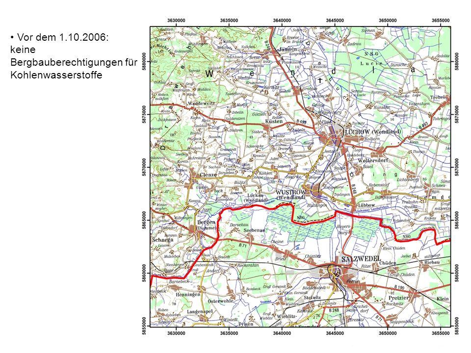 Vor dem 1.10.2006: keine Bergbauberechtigungen für Kohlenwasserstoffe