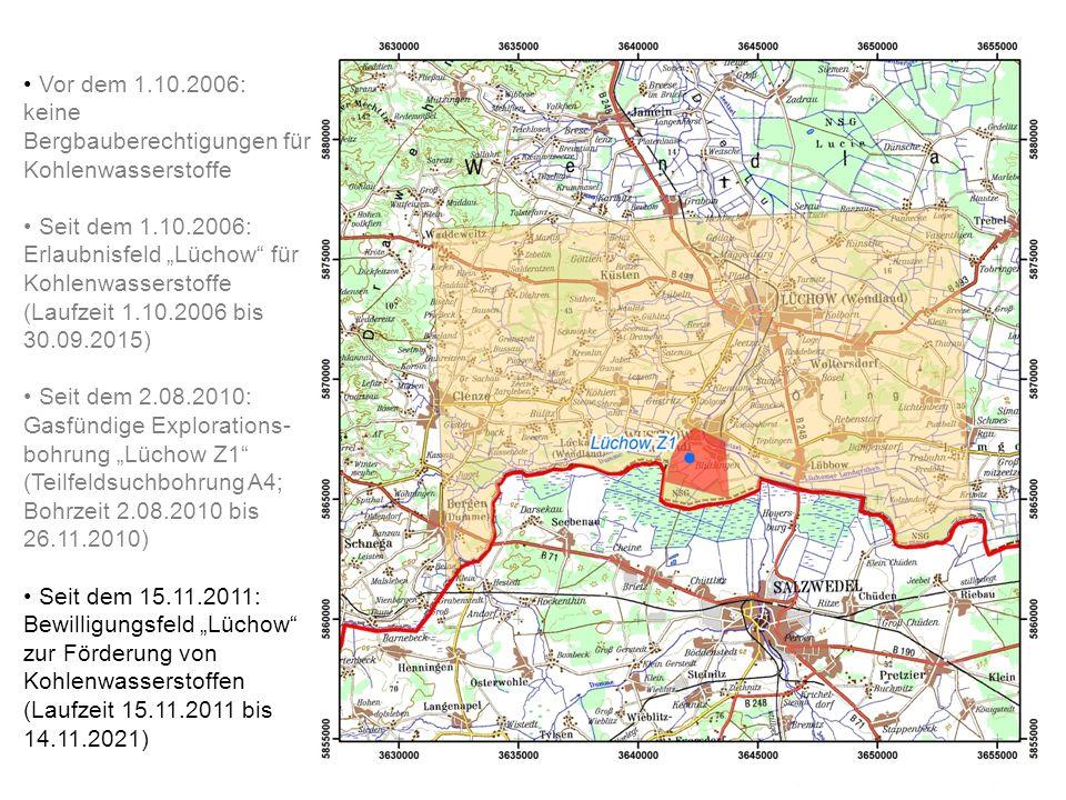 Vor dem 1.10.2006: keine Bergbauberechtigungen für Kohlenwasserstoffe Seit dem 1.10.2006: Erlaubnisfeld Lüchow für Kohlenwasserstoffe (Laufzeit 1.10.2