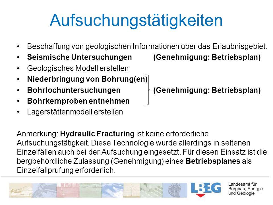 Aufsuchungstätigkeiten Beschaffung von geologischen Informationen über das Erlaubnisgebiet. Seismische Untersuchungen (Genehmigung: Betriebsplan) Geol