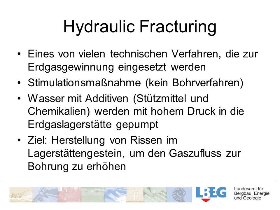 Hydraulic Fracturing Eines von vielen technischen Verfahren, die zur Erdgasgewinnung eingesetzt werden Stimulationsmaßnahme (kein Bohrverfahren) Wasse