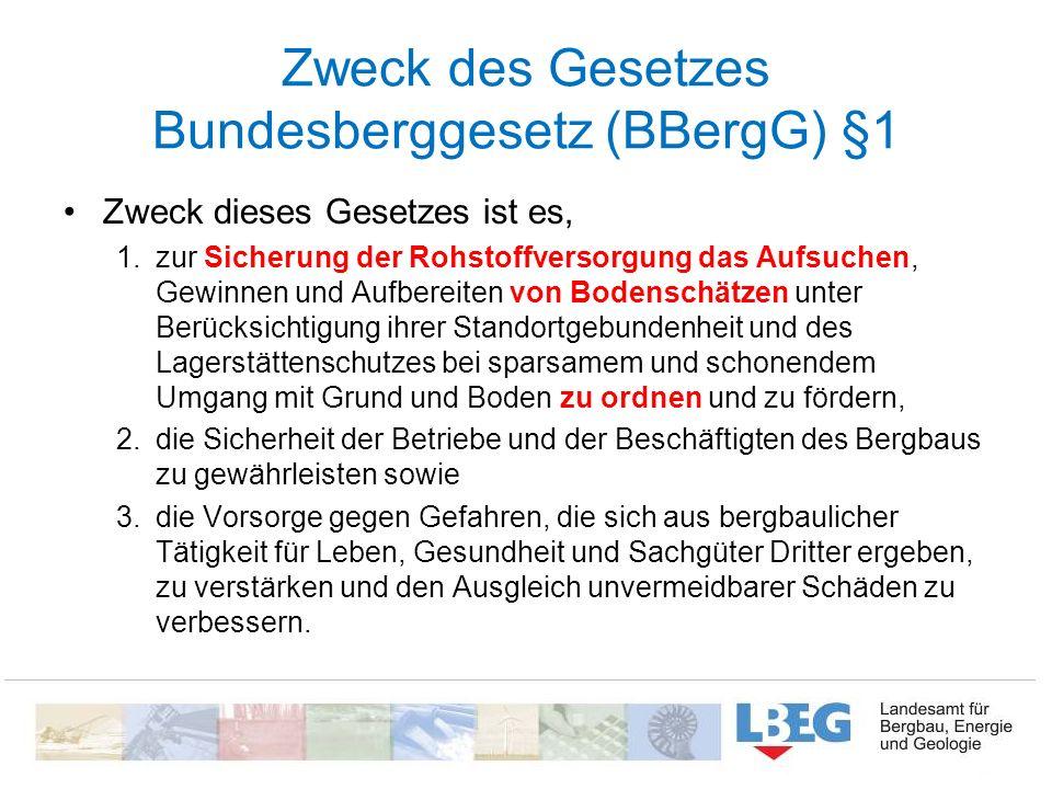 Zweck des Gesetzes Bundesberggesetz (BBergG) §1 Zweck dieses Gesetzes ist es, 1.zur Sicherung der Rohstoffversorgung das Aufsuchen, Gewinnen und Aufbe
