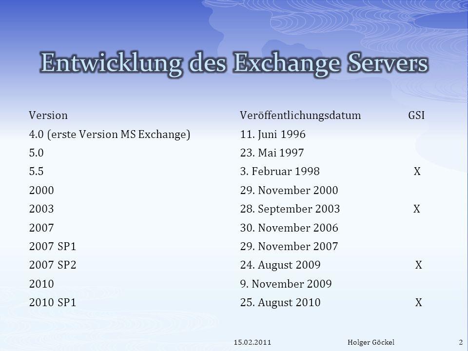 VersionVeröffentlichungsdatum GSI 4.0 (erste Version MS Exchange)11. Juni 1996 5.023. Mai 1997 5.53. Februar 1998 X 200029. November 2000 200328. Sept