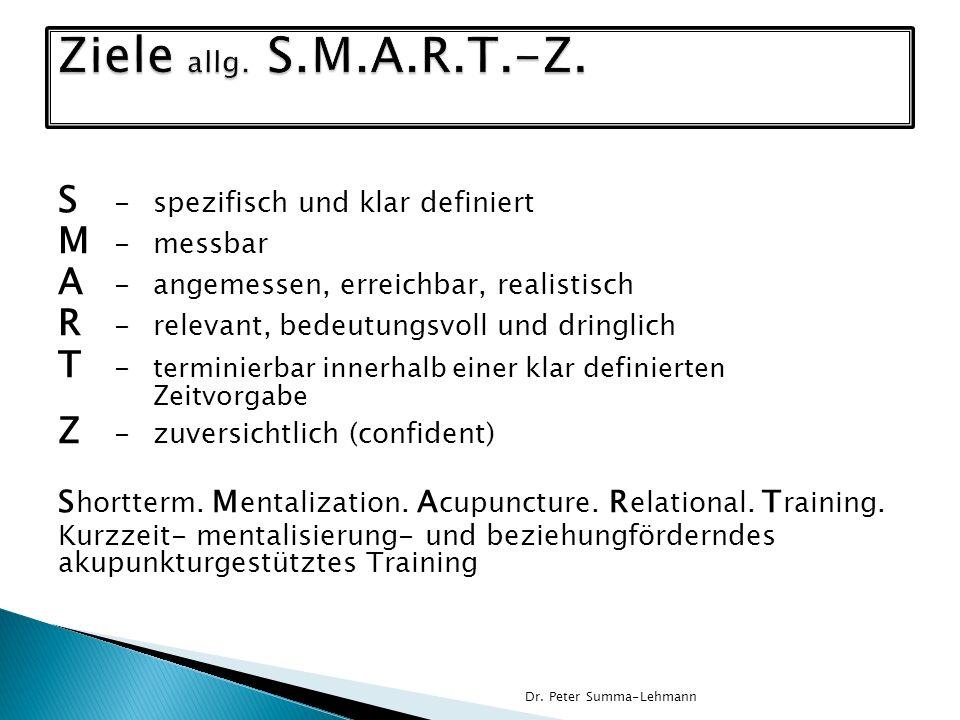 S -spezifisch und klar definiert M -messbar A -angemessen, erreichbar, realistisch R -relevant, bedeutungsvoll und dringlich T - terminierbar innerhal