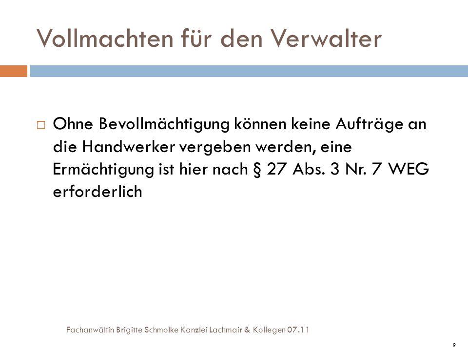 10 Beschlussformulierung Nichtigkeit: Verstoß gegen gesetzliches Verbot/ fehlende Beschlusskompetenz/ Unbestimmbarkeit Möglichst genaue Formulierung der bestimmbaren Sanierungsmaßnahme, Bezugnahme auf vorgelegte Pläne, Darstellung der Gebäudeteile und Art der Sanierung Keine ca.- Angabe hinsichtlich der Kosten: LG München I Beschluss vom 28.06.07 - selbst bei Grundlagenbeschluss Keine Verpflichtung eines Miteigentümers eine bauliche Veränderung/Rückbau vorzunehmen/Rolltor-Fall BGH Urteil v.