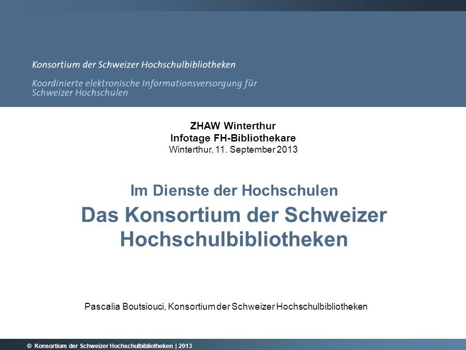 © Konsortium der Schweizer Hochschulbibliotheken | 2013 12 DIE KONSORTIALPARTNER