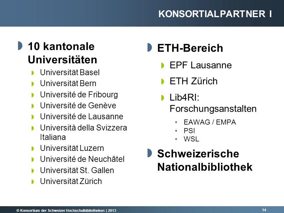 © Konsortium der Schweizer Hochschulbibliotheken | 2013 14 10 kantonale Universitäten Universität Basel Universität Bern Université de Fribourg Univer