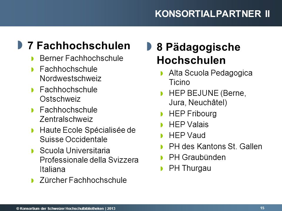© Konsortium der Schweizer Hochschulbibliotheken | 2013 15 7 Fachhochschulen Berner Fachhochschule Fachhochschule Nordwestschweiz Fachhochschule Ostsc