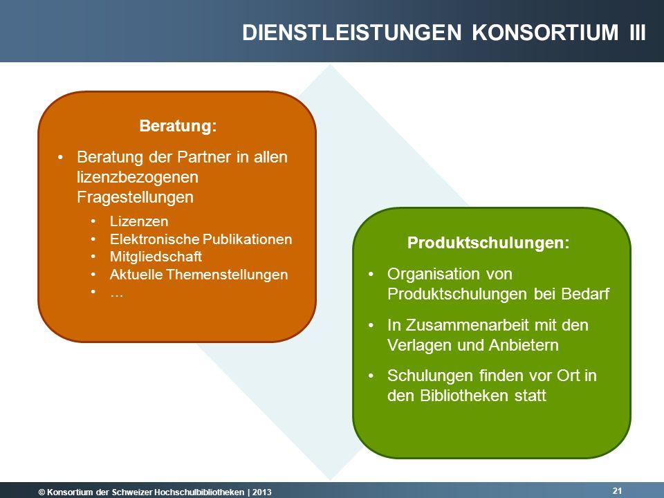 © Konsortium der Schweizer Hochschulbibliotheken | 2013 21 Beratung: Beratung der Partner in allen lizenzbezogenen Fragestellungen Lizenzen Elektronis
