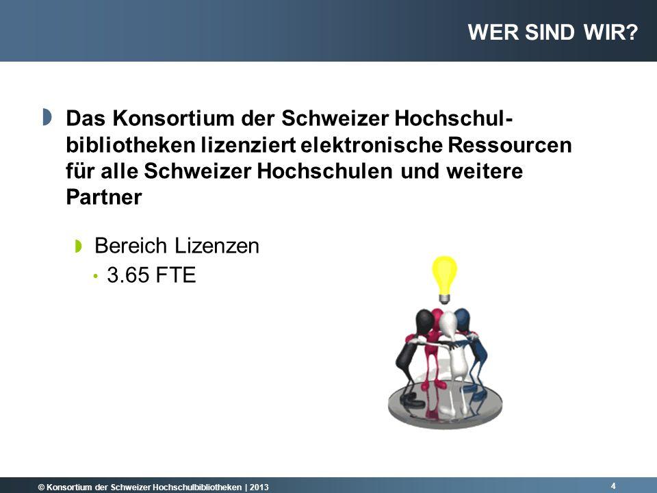 © Konsortium der Schweizer Hochschulbibliotheken | 2013 25 AUSGABEN ÜBER DAS KONSORTIUM II Ausgaben 2012 nach Medienart Ausgaben 2012 Lizenzen und Käufe Datenbanken E-Journals E-Books