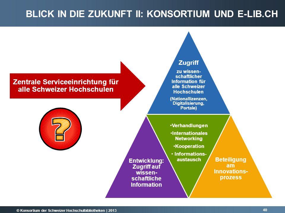 © Konsortium der Schweizer Hochschulbibliotheken | 2013 40 Zugriff zu wissen- schaftlicher Information für alle Schweizer Hochschulen (Nationallizenze