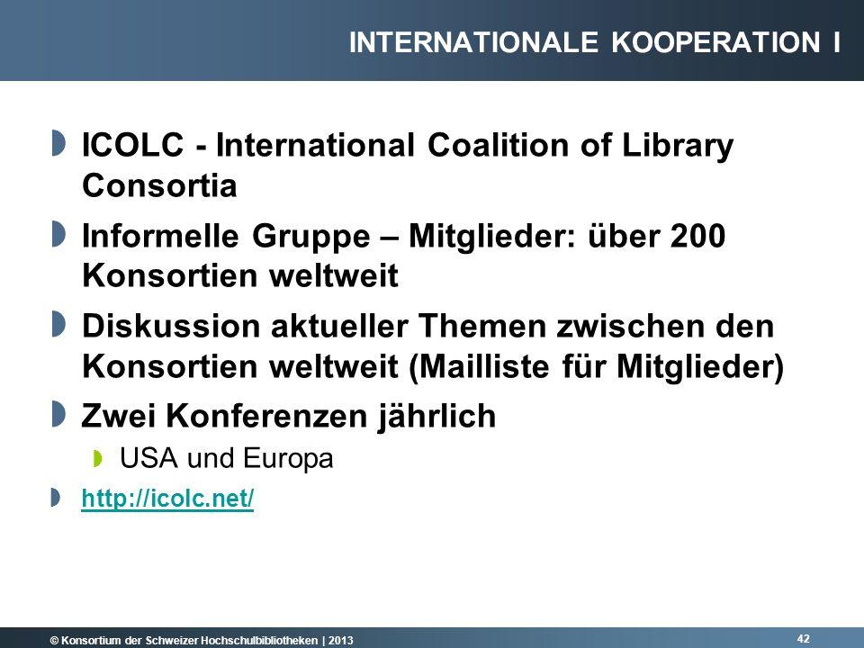 © Konsortium der Schweizer Hochschulbibliotheken | 2013 ICOLC - International Coalition of Library Consortia Informelle Gruppe – Mitglieder: über 200
