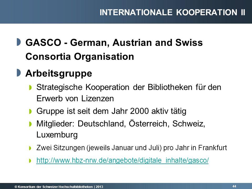 © Konsortium der Schweizer Hochschulbibliotheken | 2013 GASCO - German, Austrian and Swiss Consortia Organisation Arbeitsgruppe Strategische Kooperati