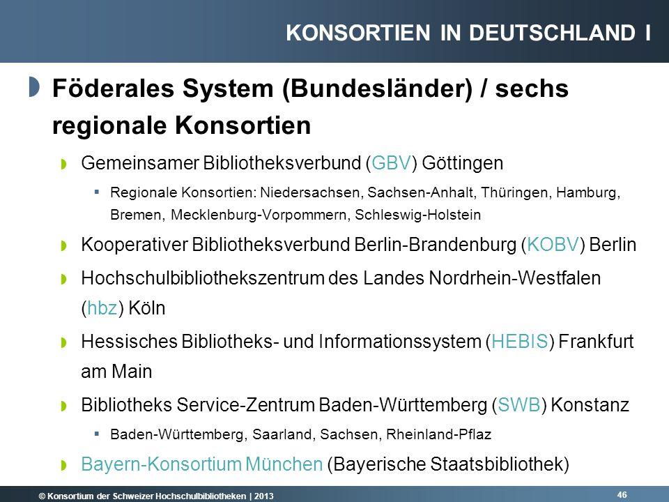 © Konsortium der Schweizer Hochschulbibliotheken | 2013 Föderales System (Bundesländer) / sechs regionale Konsortien Gemeinsamer Bibliotheksverbund (G
