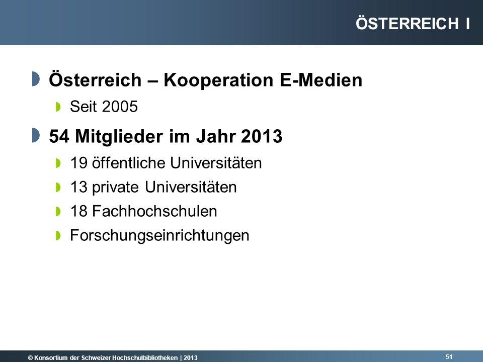 © Konsortium der Schweizer Hochschulbibliotheken | 2013 Österreich – Kooperation E-Medien Seit 2005 54 Mitglieder im Jahr 2013 19 öffentliche Universi