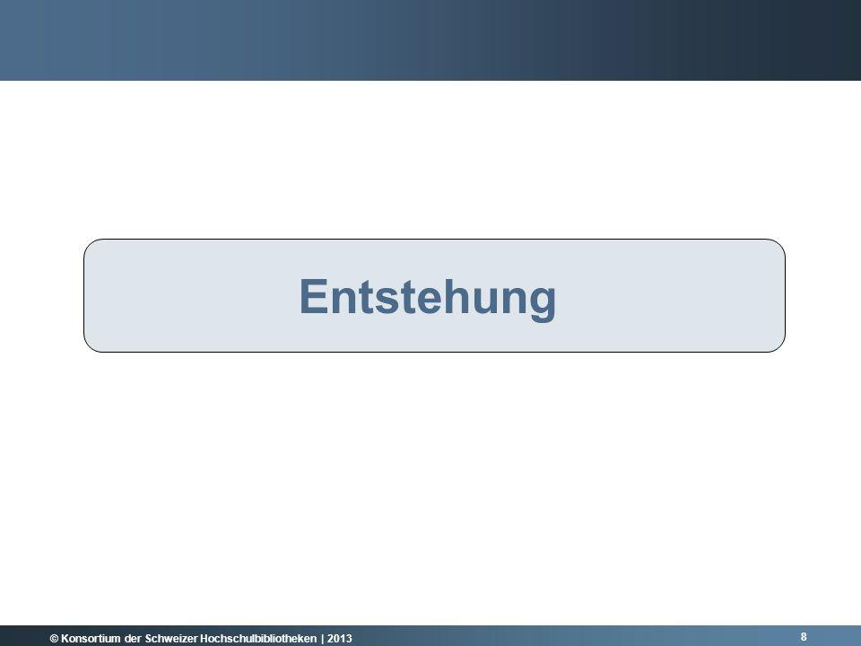 © Konsortium der Schweizer Hochschulbibliotheken | 2013 8 RÜCKBLICK Entstehung