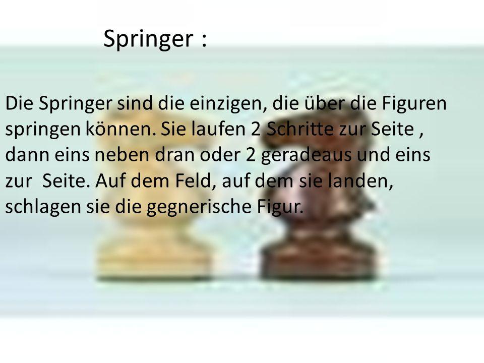 Springer : Die Springer sind die einzigen, die über die Figuren springen können. Sie laufen 2 Schritte zur Seite, dann eins neben dran oder 2 geradeau