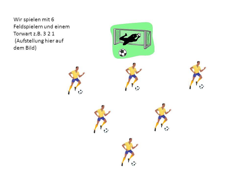 Wir spielen mit 6 Feldspielern und einem Torwart z.B. 3 2 1 (Aufstellung hier auf dem Bild)