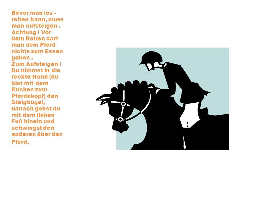 Bevor man los - reiten kann, muss man aufsteigen. Achtung ! Vor dem Reiten darf man dem Pferd nichts zum Essen geben. Zum Aufsteigen ! Du nimmst in di