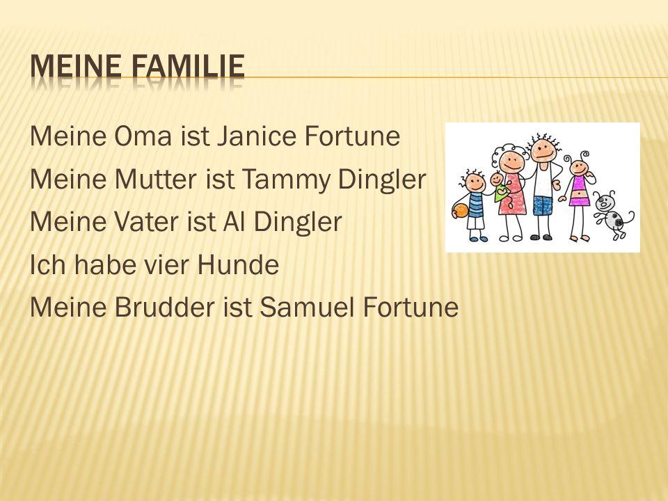 Meine Oma ist Janice Fortune Meine Mutter ist Tammy Dingler Meine Vater ist Al Dingler Ich habe vier Hunde Meine Brudder ist Samuel Fortune