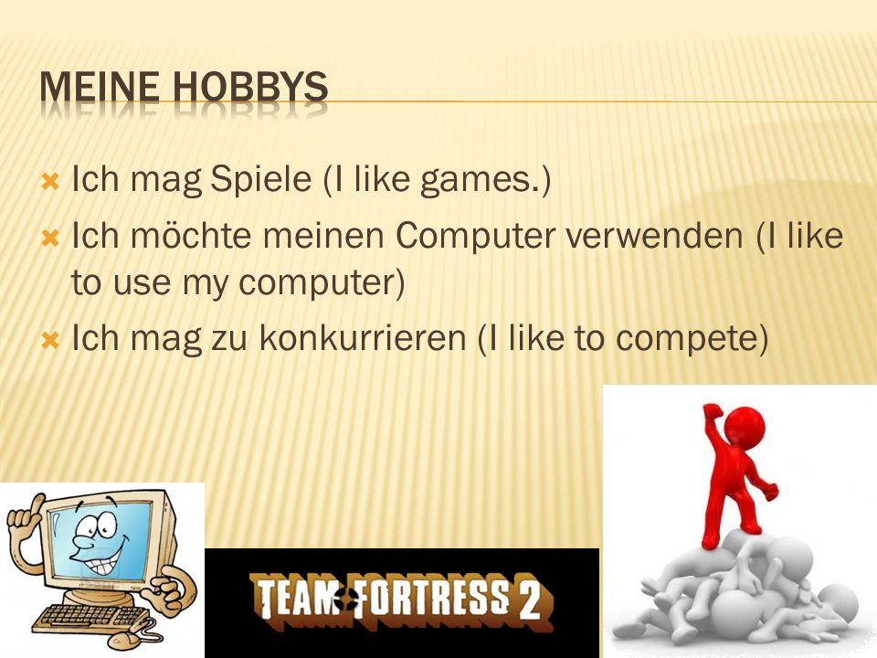 Ich mag Spiele (I like games.) Ich möchte meinen Computer verwenden (I like to use my computer) Ich mag zu konkurrieren (I like to compete)