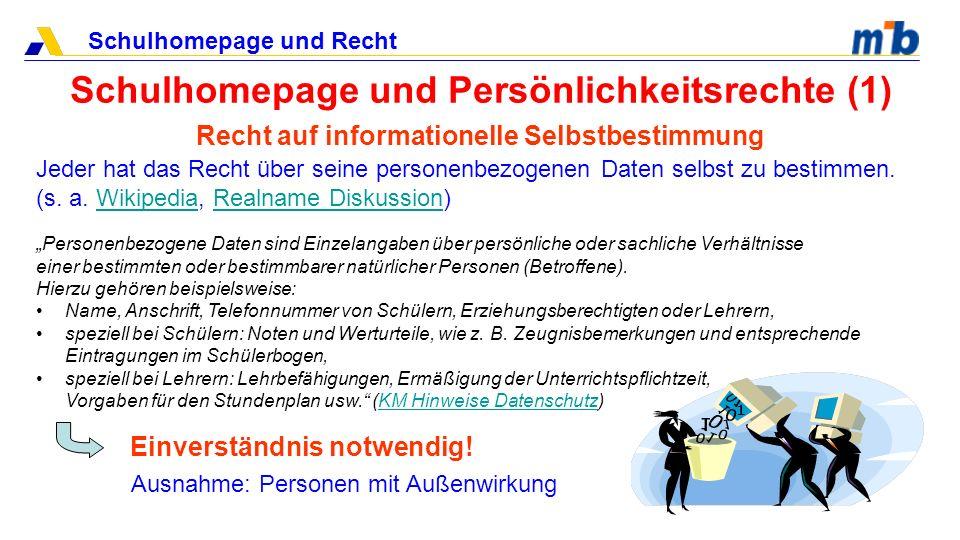 Schulhomepage und Recht Schulhomepage und Persönlichkeitsrechte (1) Recht auf informationelle Selbstbestimmung Jeder hat das Recht über seine personen