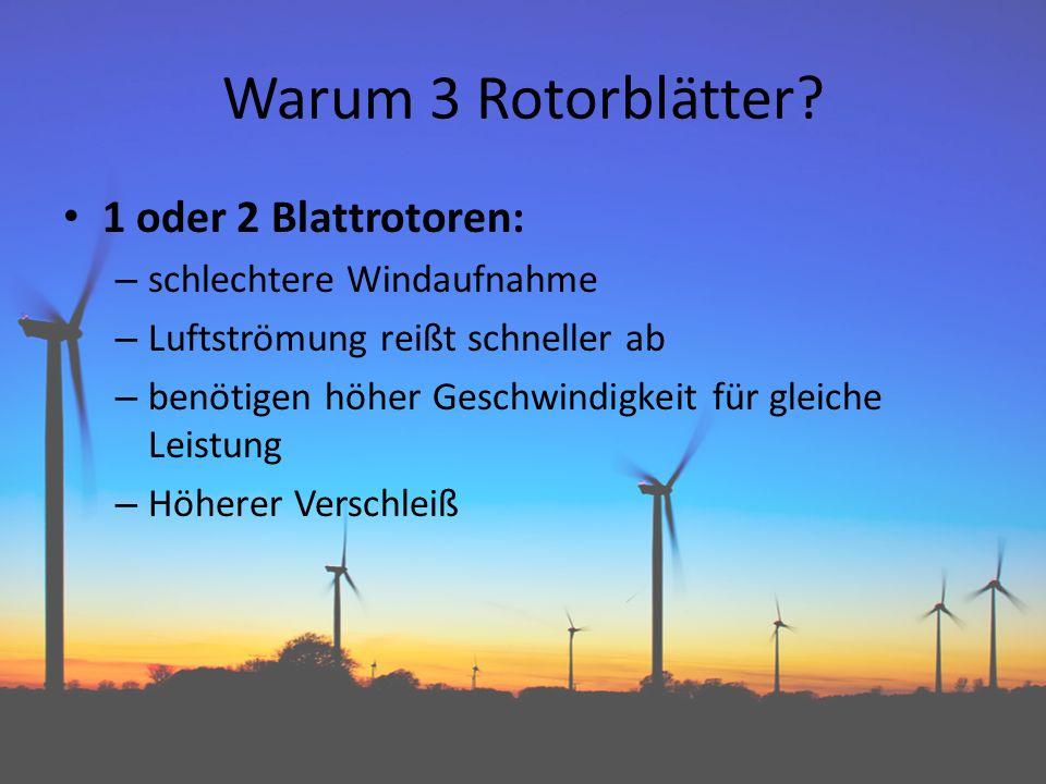 Warum 3 Rotorblätter? 1 oder 2 Blattrotoren: – schlechtere Windaufnahme – Luftströmung reißt schneller ab – benötigen höher Geschwindigkeit für gleich