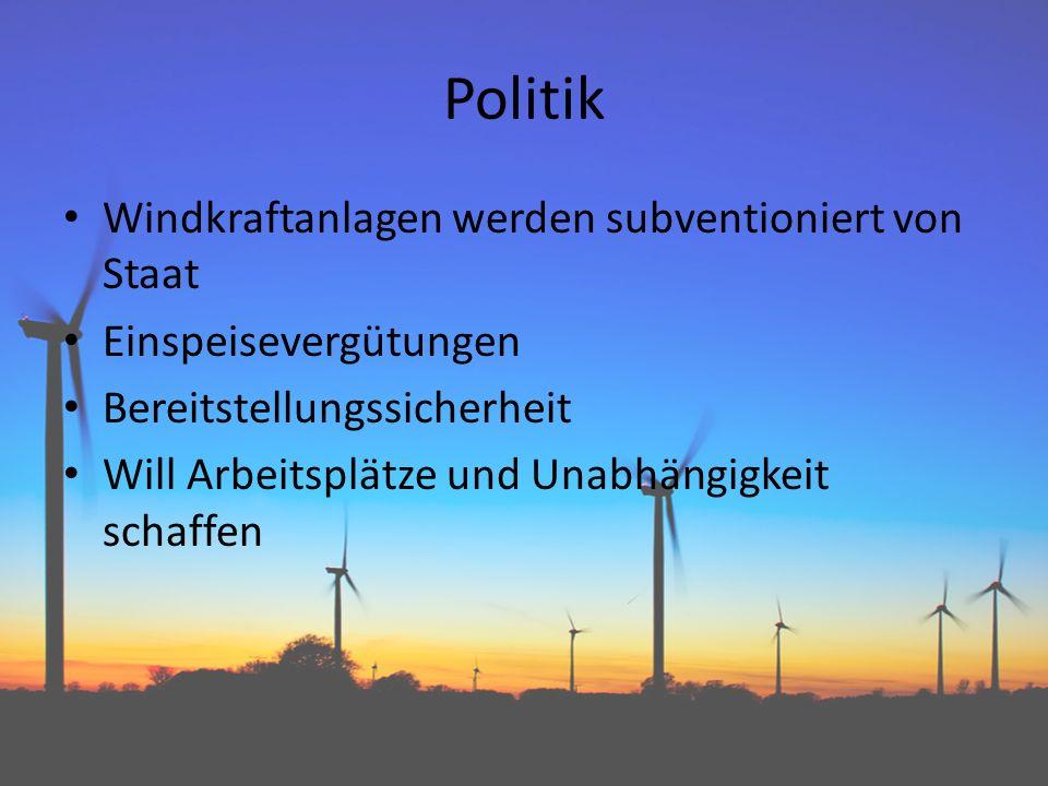 Politik Windkraftanlagen werden subventioniert von Staat Einspeisevergütungen Bereitstellungssicherheit Will Arbeitsplätze und Unabhängigkeit schaffen