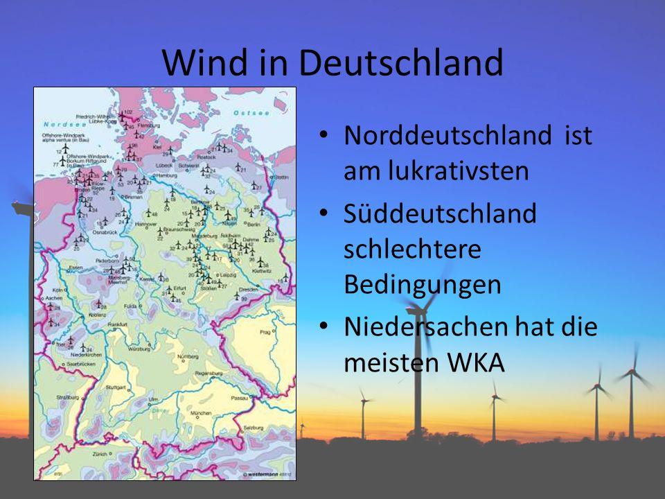 Windvorkommen über Land Höher und nach Möglichkeit ländlicher