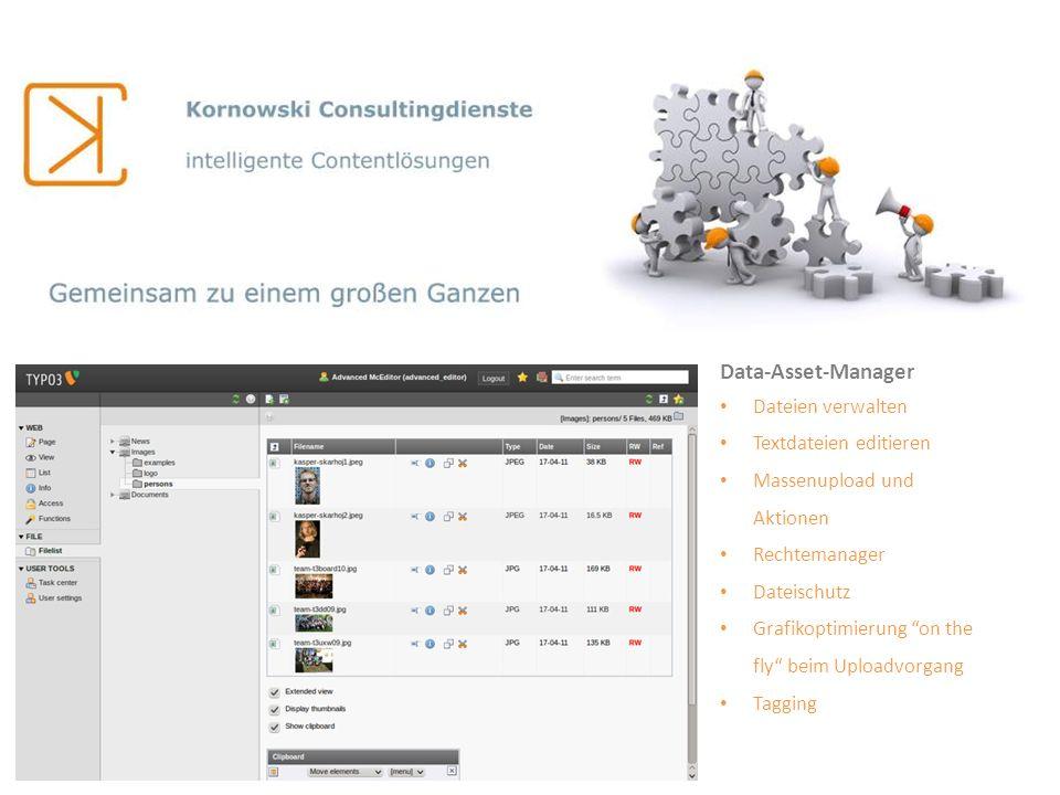 Data-Asset-Manager Dateien verwalten Textdateien editieren Massenupload und Aktionen Rechtemanager Dateischutz Grafikoptimierung on the fly beim Uploa