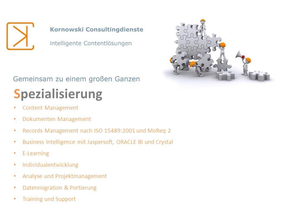 Content Management Dokumenten Management Records Management nach ISO 15489:2001 und MoReq 2 Business Intelligence mit Jaspersoft, ORACLE BI und Crysta