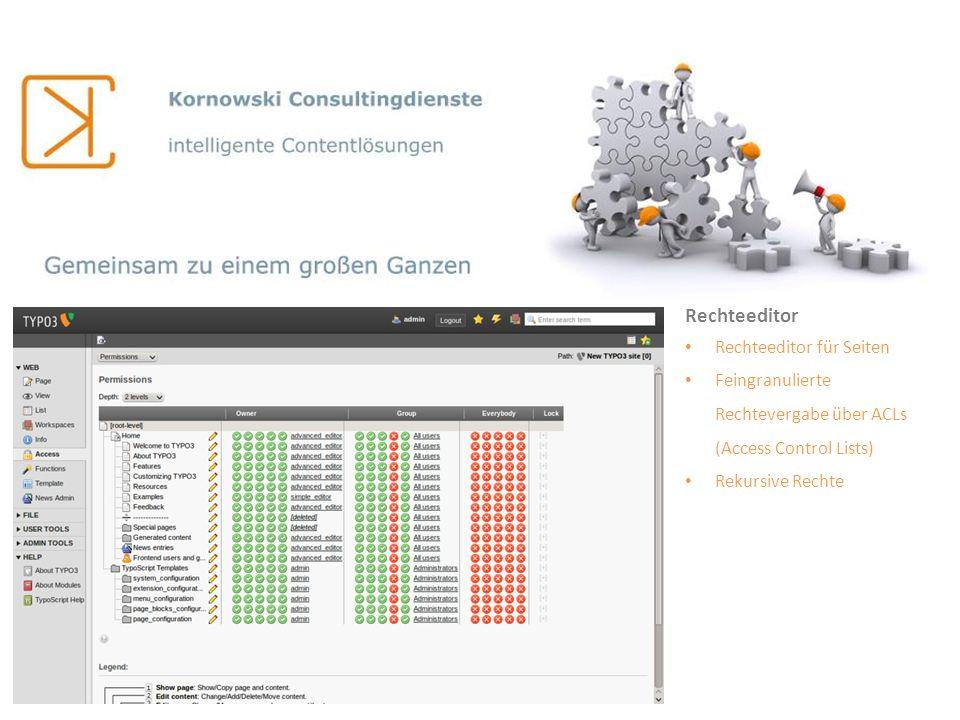 Rechteeditor Rechteeditor für Seiten Feingranulierte Rechtevergabe über ACLs (Access Control Lists) Rekursive Rechte
