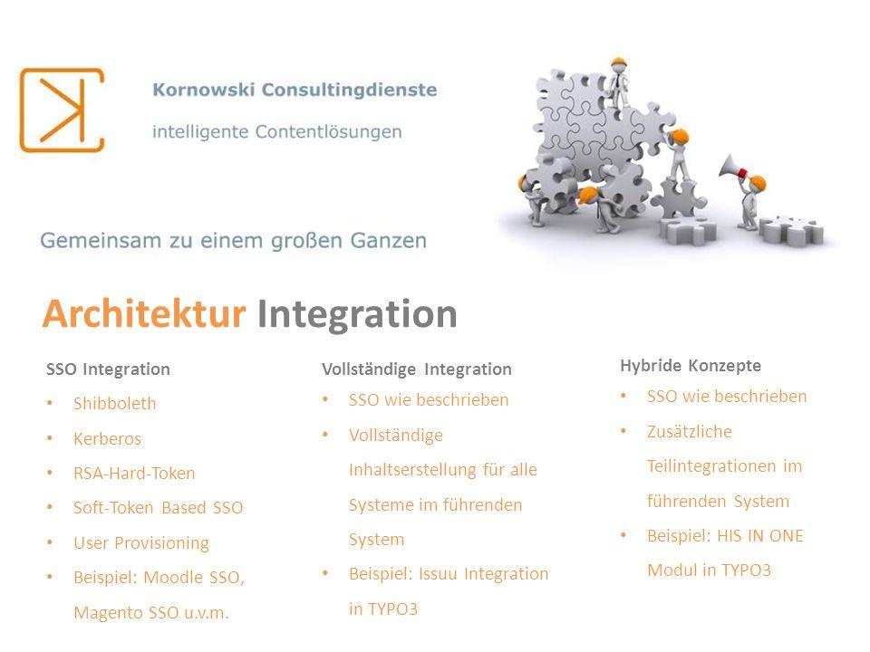 SSO Integration Shibboleth Kerberos RSA-Hard-Token Soft-Token Based SSO User Provisioning Beispiel: Moodle SSO, Magento SSO u.v.m. Architektur Integra