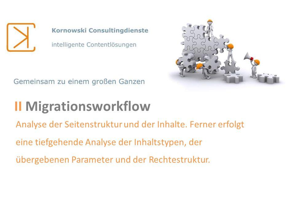 II Migrationsworkflow Analyse der Seitenstruktur und der Inhalte. Ferner erfolgt eine tiefgehende Analyse der Inhaltstypen, der übergebenen Parameter