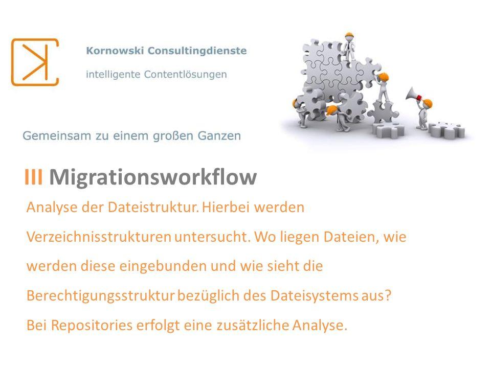 III Migrationsworkflow Analyse der Dateistruktur. Hierbei werden Verzeichnisstrukturen untersucht. Wo liegen Dateien, wie werden diese eingebunden und