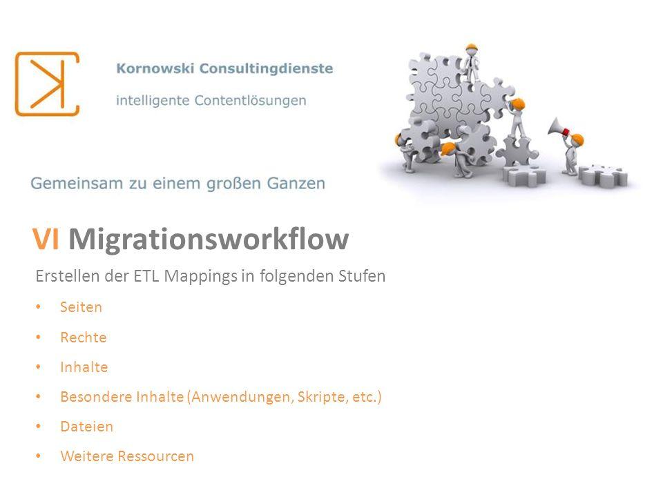VI Migrationsworkflow Erstellen der ETL Mappings in folgenden Stufen Seiten Rechte Inhalte Besondere Inhalte (Anwendungen, Skripte, etc.) Dateien Weit