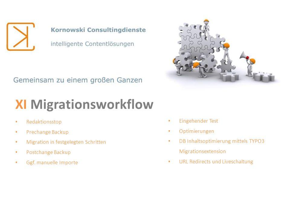 XI Migrationsworkflow Redaktionsstop Prechange Backup Migration in festgelegten Schritten Postchange Backup Ggf. manuelle Importe Eingehender Test Opt