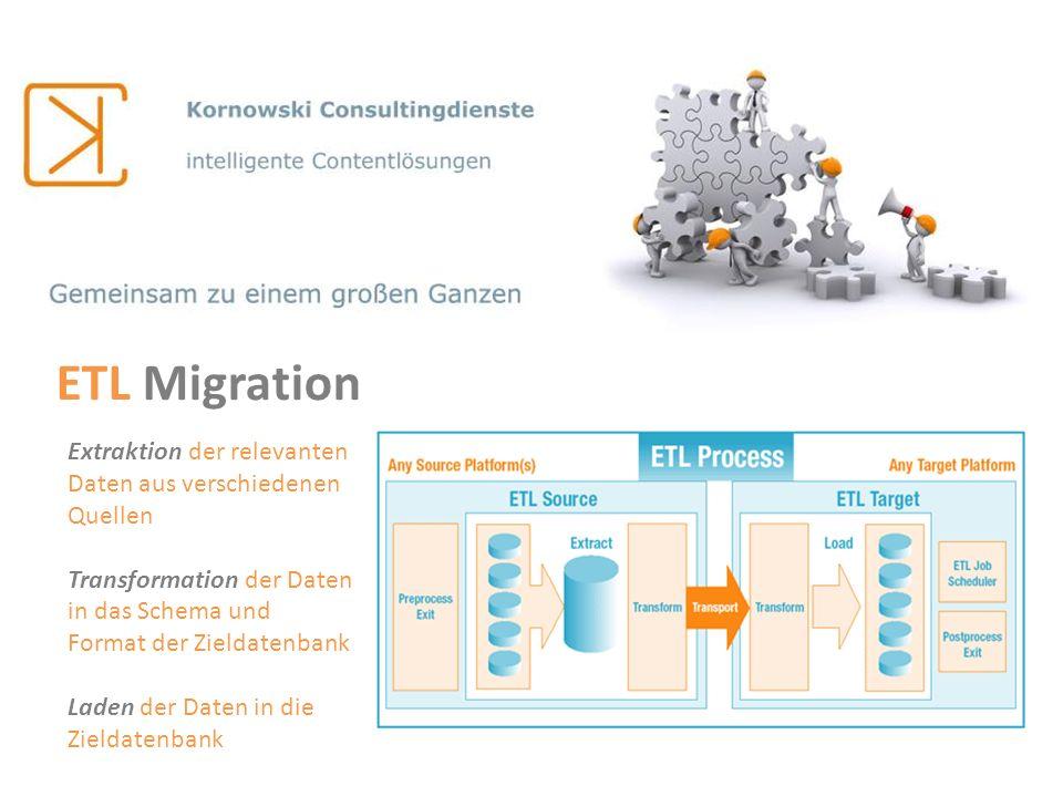 ETL Migration Extraktion der relevanten Daten aus verschiedenen Quellen Transformation der Daten in das Schema und Format der Zieldatenbank Laden der