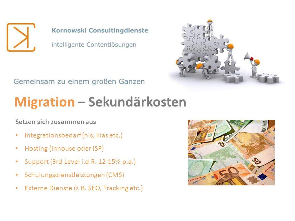 Migration – Sekundärkosten Setzen sich zusammen aus Integrationsbedarf (his, Ilias etc.) Hosting (Inhouse oder ISP) Support (3rd Level i.d.R. 12-15% p